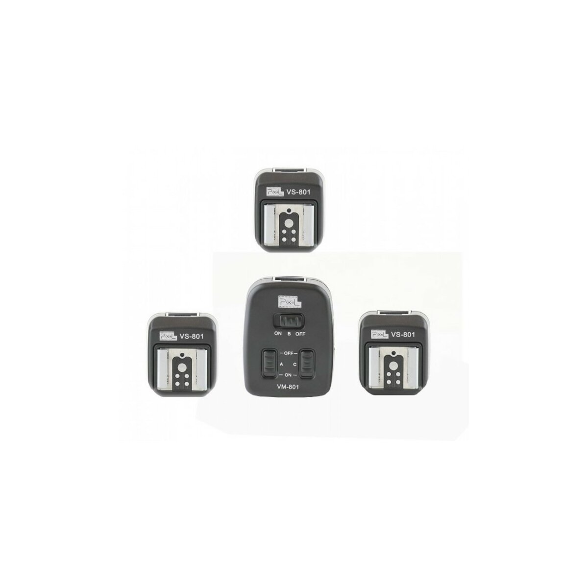 PIXEL Triple TTL-Blitzkabel (3x 4m) mit 3 Empfängern - kompatibel mit Canon Speedlite 600EX-RT, 580EX II, 580EX, 550EX, 540EZ, 430EX II, 430EX, 420EX, 380EX, 320EX, 270EX II, 270EX, 220EX - Ersatz für OC-E3