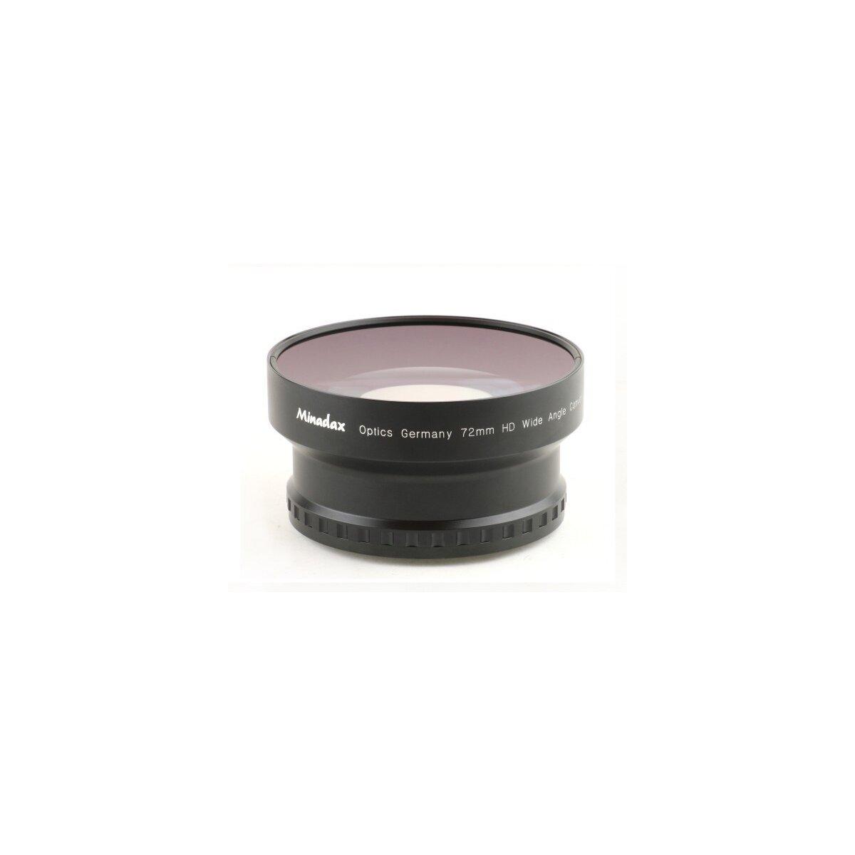 0.7x Minadax HD Weitwinkel Objektiv Vorsatz kompatibel mit Canon XH A1, XH A1s, XH G1, XH G1s, XL1, XL1s, XL2, XL2s, XL H1, XL H1A, XL H1S (Voll durchzoombar) + 1x Minadax Sonnenblende