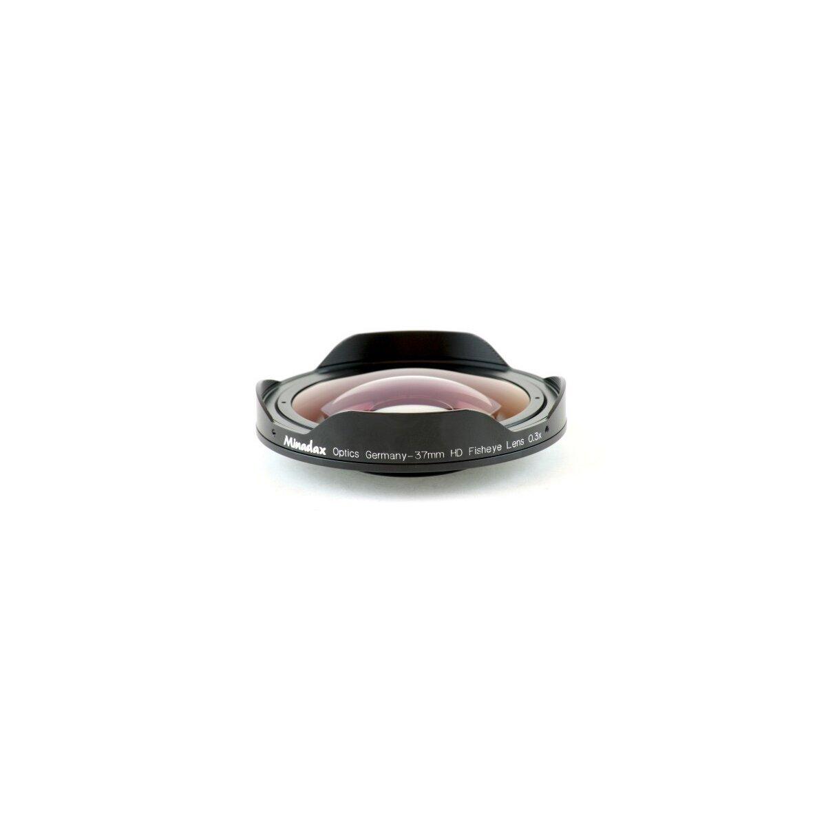 Minadax 0.3x Ultra Fisheye Konverter kompatibel mit Canon DC10, DC20, MVX450, MVX460, Panasonic NV-DS65; JVC GR-DA20, GR-D725, GR-D740, GR-D760, GR-D770