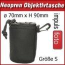 Minadax Neopren Objektivtasche mit Gurtclip, S (Small) ø 70mm x H 90mm - in schwarz