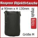 Minadax Neopren Objektivtasche mit Gurtclip, M (Medium) ø 90mm x H 130mm - in schwarz
