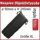 Minadax Neopren Objektivtasche mit Gurtclip, XL (X-Large) ø 90mm x H 245mm - in schwarz