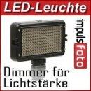 Kraftvolle Videoleuchte 162 LED's, Lichtkamera mit Dimmer fuer Helligkeitsregelung & 2 Filtern fuer alle gaengigen Kameras