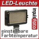 Kraftvolle Videoleuchte 162 LED's, Lichtkamera mit Dimmer fuer Farbtemperaturregelung & 2 Filtern fuer alle gaengigen Kameras