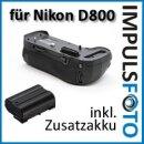 Minadax Profi Batteriegriff kompatibel für Nikon D800, D800E, D810, D810A - Ersatz für MB-D12 für 1 zusätzlichen Akku und 8x AA Batterien + 1x EN-EL15 Nachbau-Akku