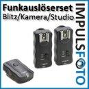 4 Kanal Funk-Blitzauslöser bis 30m kompatibel mit 2 Blitzgeräte z.B. Canon 600EX-RT, 580EX II, 430EX II - Nikon SB-910, SB-900, SB-800 u.v.m.