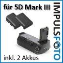 Minadax Profi Batteriegriff kompatibel mit Canon EOS 5D Mark III als BG-E11 Ersatz - für LP-E6 Akkus + 2x LP-E6 Nachbau-Akkus
