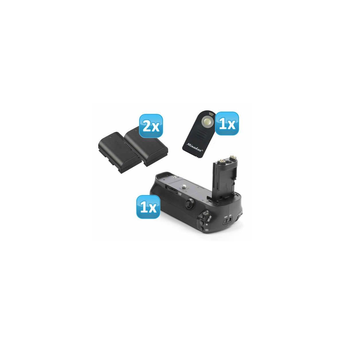 Minadax Profi Batteriegriff fuer Canon EOS 5D Mark III als BG-E11 Ersatz fuer LP-E6 Akkus + 2x LP-E6 Nachbau-Akkus + 1x Infrarot Fernbedienung!